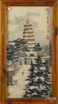 Oriental watercolor of a shrine