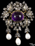 Antique amethyst diamond and pearl brooch