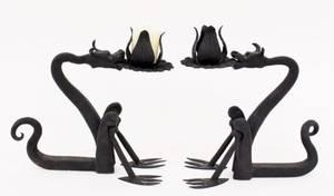 Pair of Iron Modern Dragon Form Candlesticks