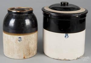 Fivegallon stoneware lidded crock