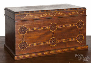 Parquetry inlaid mahogany dresser box