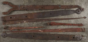 Five pairs of wrought iron barn hinges