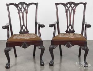 Pair of Centennial mahogany armchairs