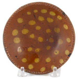 Miniature Pennsylvania redware pie plate 19th c