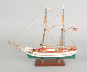American carved and rigged ship model of the schooner