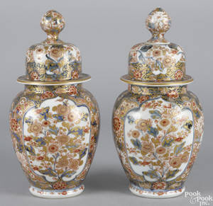 Pair of Japanese Imari palette porcelain urns 19th c