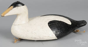 Carved and painted eider duck decoy