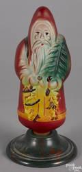 Large embossed glass Santa Claus Christmas light bulb