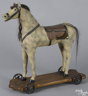 Morton Converse painted wood platform horse pull toy