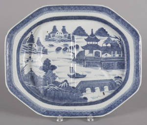 Chinese export porcelain Canton well and tree platter 19th c