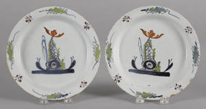 Pair of Delft polychrome sporting fish plates 18th c