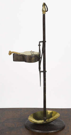 Brass and iron adjustable fat lamp early 19th c