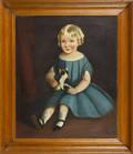 American oil on canvas folk portrait ca 1860