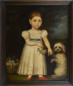 American oil on canvas folk portrait ca 1840