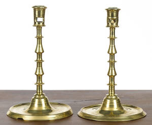 Pair of large Continental brass candlesticks late 17th c
