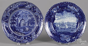 Two Historical Blue Staffordshire plates depicting the Water Works Philadelphia and Commodore Macdonnaughs Victory