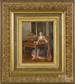 Oil on panel interior scene with a young woman and a parakeet