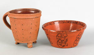Two pieces of Pennsylvania redware 19th c