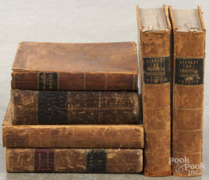 Six antique medical reference books
