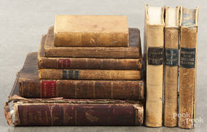 Nine antique books on mathematics and school subjects