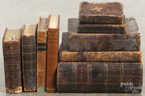 Nine antique books