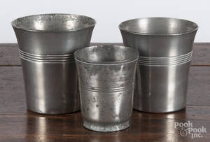 Two pewter beakers