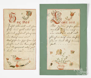 Two Pennsylvania ink and watercolor bookplates
