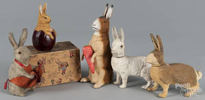 Five assorted German rabbit candy containers