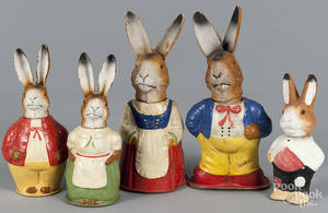 Five German pressed paper rabbit candy containers