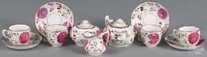 Miniature pink lustre tea service