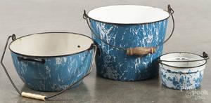 Three graniteware buckets