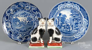 Two blue Staffordshire plates