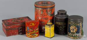 Six painted tins