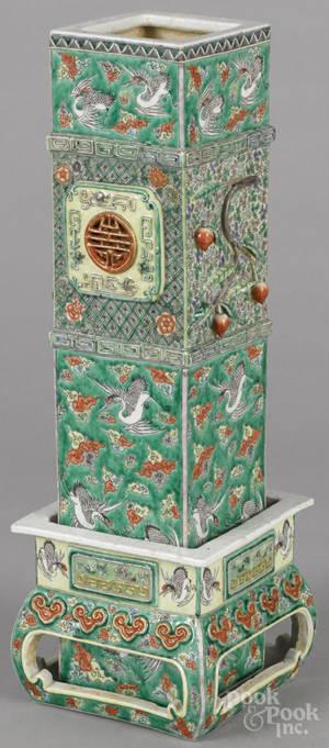 Chinese famille verte porcelain vase 19th c