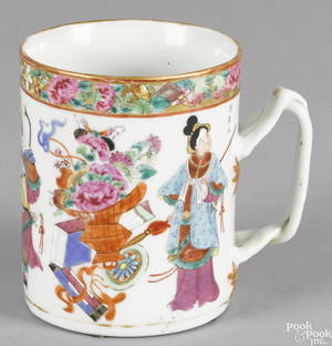 Chinese export porcelain rose Mandarin mug 19th c