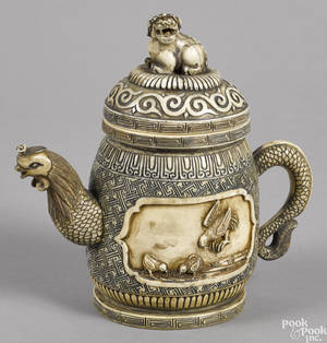 Chinese carved ivory teapot ca 1900