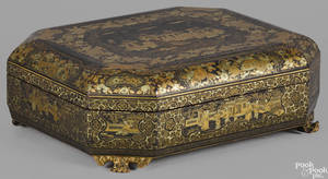 Chinese black lacquer box mid 19th c