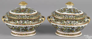 Pair of Chinese export porcelain thousand butterfly small tureens and covers 19th c