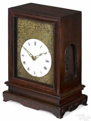 Chinese carved hardwood bracket clock 19th c