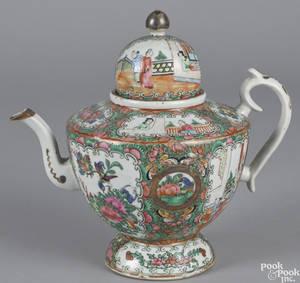 Chinese export porcelain rose medallion teapot 19th c