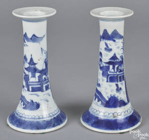 Pair of Chinese export porcelain Canton candlesticks 19th c