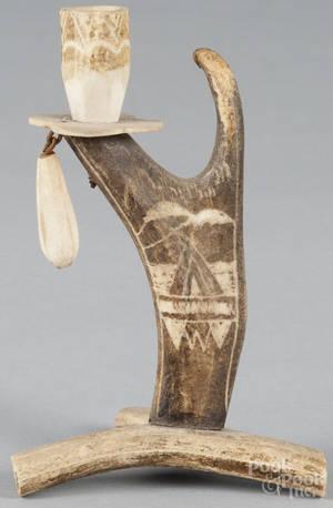 Carved antler candlestick