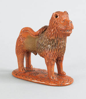 Pennsylvania redware figure of a lion 19th c