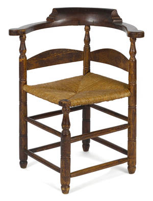 American William  Mary maple and oak corner chair mid 18th c