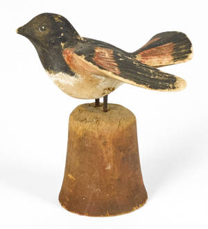 Carved and painted poplar song bird late 19th c