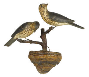 Pair of carved and painted birds on a fungus perch ca 1900