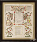 Two Allentown printed and hand colored fraktur