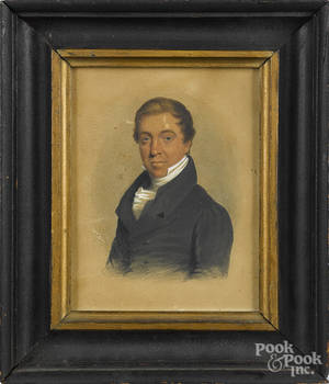 Pennsylvania watercolor and gouache portrait of John Fisher from Carlisle