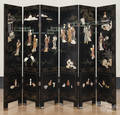 Chinese painted lacquer sixpart folding screen