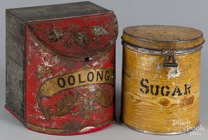 Three painted tin bins